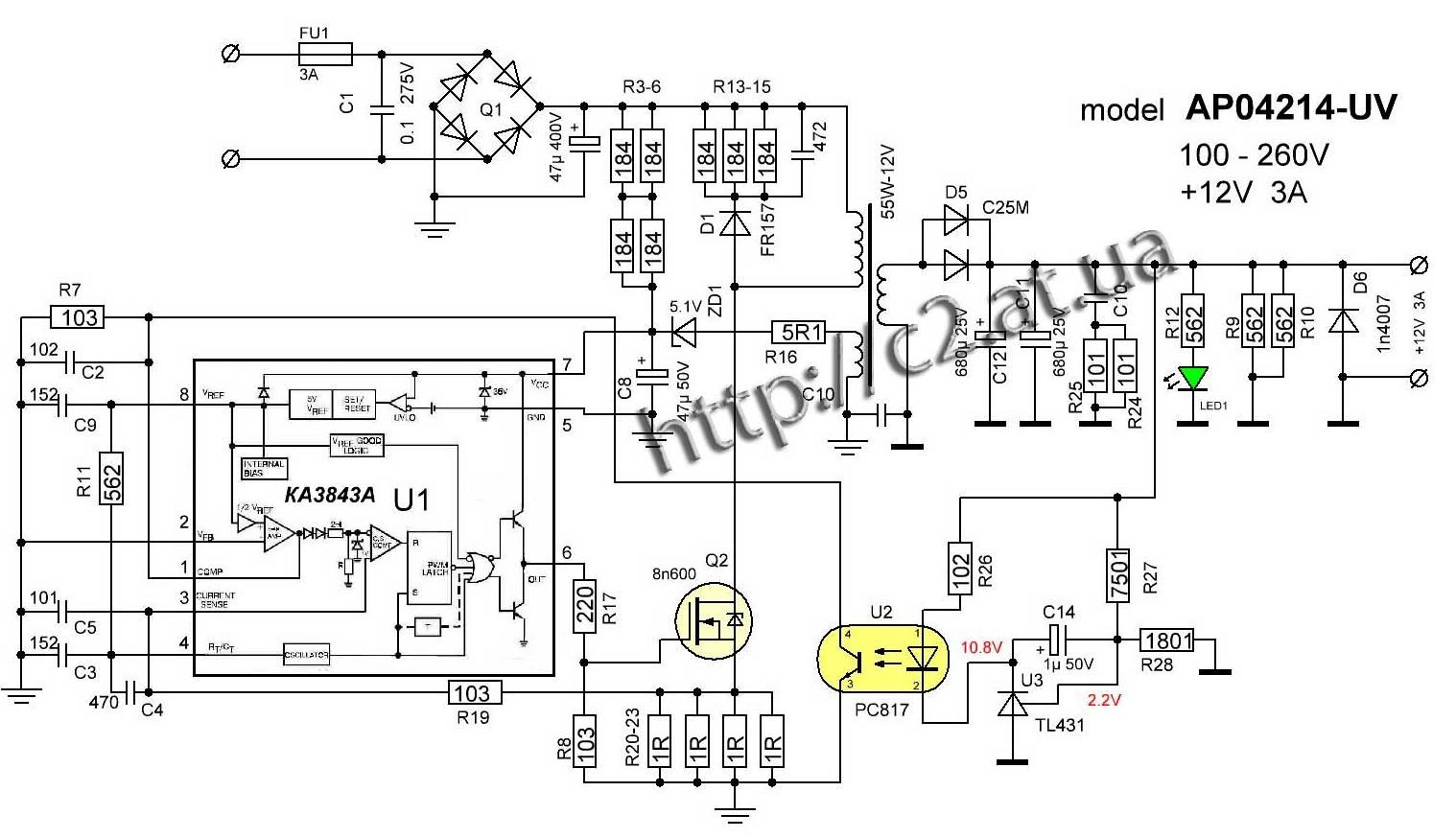 S-60-12 - AC/DC преобразователь мощностью 60 Вт. Корпус: для ...