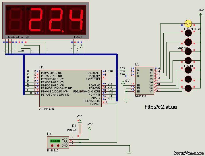 В данной схеме , можно увеличить количество температурных зон до 16, применив демультиплесор 74HC154 (4х16) .