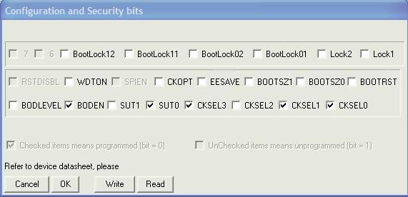 "Для программирования МК предусмотрен разъём JS4  ""ISP "" (In-System Programming, внутрисхемное программирование)."